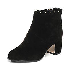 Senda/森达2017冬季新款优雅女短靴后拉链中粗跟356-9DD7