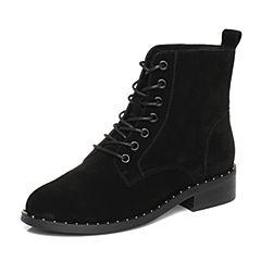 Senda/森达2017冬季新款帅气休闲女短靴韩版系带马丁靴51-1BDD7