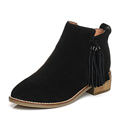 Senda/森达2017冬季新款韩版女短靴流苏中粗跟18-12DD7