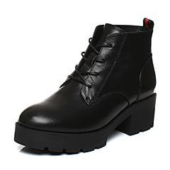 Senda/森达冬季专柜同款帅气牛皮女短靴厚底中粗跟马丁靴3FM10DD7