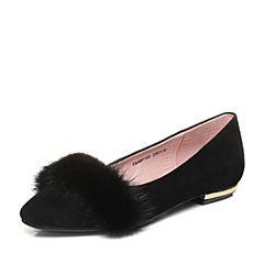 Senda/森达春季新款专柜同款优?#29260;?#27611;低跟女单鞋4BP10AQ8