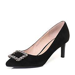 Senda/森达2018春季新款专柜同款羊绒皮女高跟单鞋婚鞋4BG01AQ8
