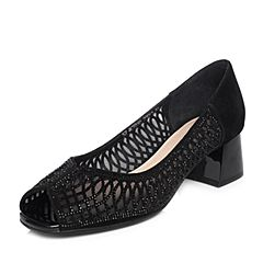 Senda/森达2018夏季新款专柜同款优雅闪钻女鱼嘴凉鞋4CT01BU8
