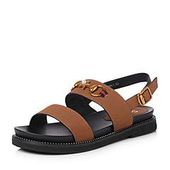 Senda/森达2018夏季新款专柜同款复古休闲平底女凉鞋4CO10BL8