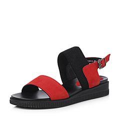 Senda/森达2018夏季新款专柜同款简约休闲女坡跟凉鞋4CN01BL8