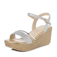 Senda/森达2018夏季新款专柜同款甜美闪钻女高跟凉鞋4CM01BL8