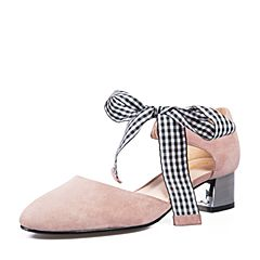 Senda/森达2018夏季新款专柜同款时尚蝴蝶结中粗跟女凉鞋VID30BK8