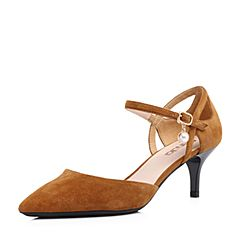 Senda/森达2018夏季新款专柜同款时尚尖头女高跟凉鞋婚鞋VGU36BK8