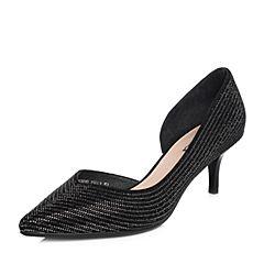 Senda/森达2018夏季新款专柜同款优雅真皮闪钻女高跟凉鞋4CU01BK8