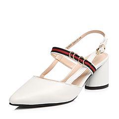 Senda/森达2018夏季新款专柜同款英伦羊皮粗跟女高跟凉鞋VJN30BH8
