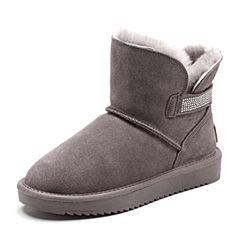 Senda/森达2018冬季新款专柜同款绒毛厚底女雪地皮靴VQU40DD8