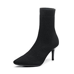 Senda/森达2018冬季新款专柜同款性感细高跟女中筒袜靴VNR60DZ8