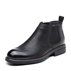 Senda/森达2018冬季新款专柜同款摔纹牛皮革方跟男短靴1PY09DD8