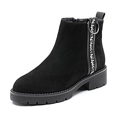 Senda/森达2018冬季新款专柜同款时尚潮流中跟休闲女短靴4FF01DD8