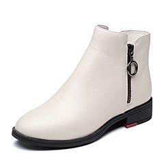 Senda/森达2018冬季新款专柜同款潮流牛皮革方跟女短靴4FJ01DD8