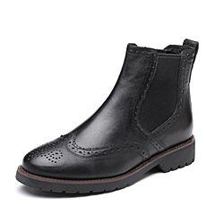 Senda/森达2018冬季新款专柜同款布洛克款式女切尔西短靴VQC40DD8