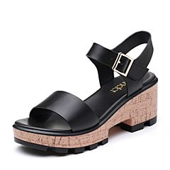 Senda/森达2019夏季新款专柜同款时尚休闲粗高跟女凉鞋4JG01BL9