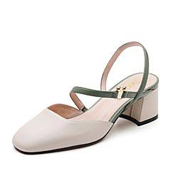 Senda/森达2019夏季新款专柜同款舒适休闲粗高跟女凉鞋4KB03BH9