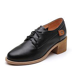 Senda/森达2019春季新款专柜同款简约休闲中粗跟女单鞋3RK01AM9