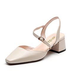 Senda/森达2019春季新款休闲舒适中粗跟包头女凉鞋91-99AH9