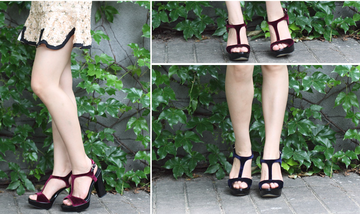 staccato/思加图夏季深蓝色绒布/黑色胎牛漆皮里女皮凉鞋9cn22bl3