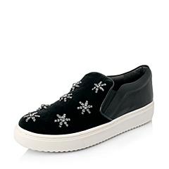 STACCATO/思加图秋季专柜同款女士黑色绵羊皮/绒布女乐福厚底单鞋EPP35CM4