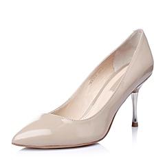STACCATO/思加图春季专柜同款杏灰漆皮胎牛皮革女皮鞋PEY26AQ5