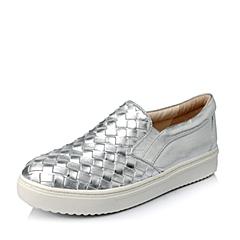 STACCATO/思加图春季专柜同款银色绵羊皮女乐福厚底鞋(编织)U9I08AM5