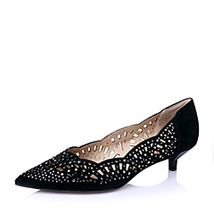 STACCATO/思加图春季专柜同款黑羊绒皮女鞋(雕刻)9UK09AQ6
