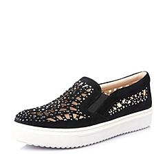 STACCATO/思加图春季专柜同款黑羊绒皮女鞋(雕刻)9UI29AM6