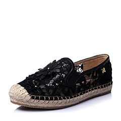 STACCATO/思加图春季专柜同款黑色蕾丝网布女单鞋9UA12AM6