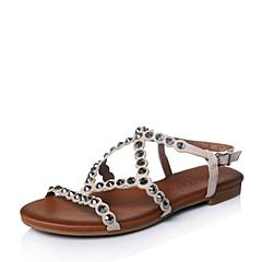 STACCATO/思加图夏季专柜同款米色羊绒皮女凉鞋9JH02BL6