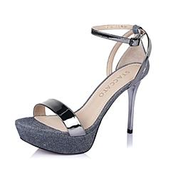 STACCATO/思加图夏季专柜同款灰/深兰色羊皮女凉鞋9JK02BL6