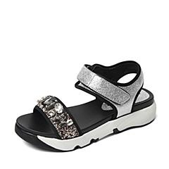 STACCATO/思加图夏季专柜同款银色摔纹金属牛皮女皮凉鞋F6101BL6