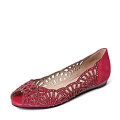 STACCATO/思加图春季专柜同款玫红羊绒皮革女皮凉鞋F1101AU6