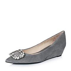 STACCATO/思加图秋季专柜同款灰色羊绒皮闪耀水钻女单鞋9YR07CQ6