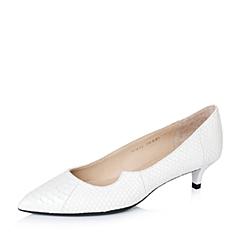 STACCATO/思加图秋季专柜同款白色蛇皮女单鞋9UK15CQ6