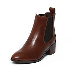 STACCATO/思加图冬季专柜同款浅杏(杏)色牛皮女靴9XY07DD6