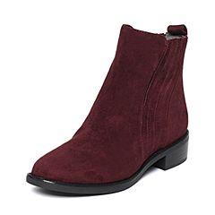 STACCATO/思加图冬季专柜酒红色同款羊皮女靴9RA72DD6