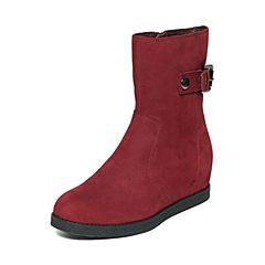 STACCATO/思加图冬季专柜同款酒红色牛皮女靴9C302DZ6