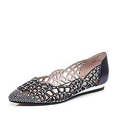 STACCATO/思加图春季专柜同款蓝色羊皮/金属牛皮女单鞋Y2001AQ6