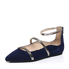 STACCATO/思加图春季专柜同款深兰/银灰色羊皮女单鞋9E302AQ7