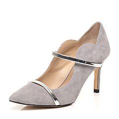 STACCATO/思加图2017春季专柜同款灰/银色羊绒皮女单鞋9UE34AQ7