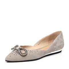 STACCATO/思加图2017春季专柜同款灰色羊皮女单鞋9E503AQ7