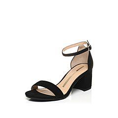STACCATO/思加图夏季专柜同款羊绒皮黑色女凉鞋9E803BL7