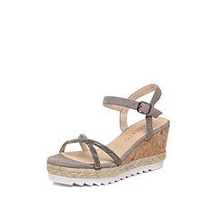 STACCATO/思加图夏季专柜同款羊绒皮女皮凉鞋9F604BL7