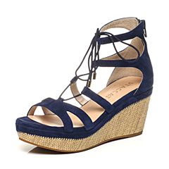 STACCATO/思加图夏季专柜同款深蓝色羊皮女凉鞋9FH05BL7
