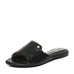 STACCATO/思加图夏季专柜同款黑色蛇皮女凉拖鞋9G101BT7