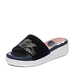 STACCATO/思加图夏季专柜同款毛绒布女凉拖鞋9YZ09BT7