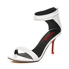 STACCATO/思加图夏季专柜同款白色山羊皮一字型女皮凉鞋9VN11BL7